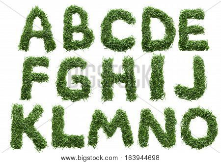 Alphabet Made Of Green Grass Isolated On White