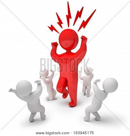 3d render angry. Isolated on white background