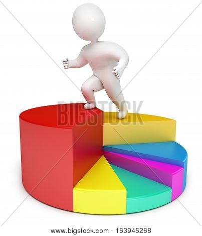 chart people 3d render. Isolated on white background