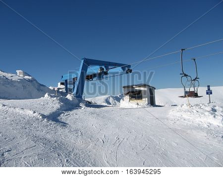 The construction of the ski lift station a place of exit from the chair lift station
