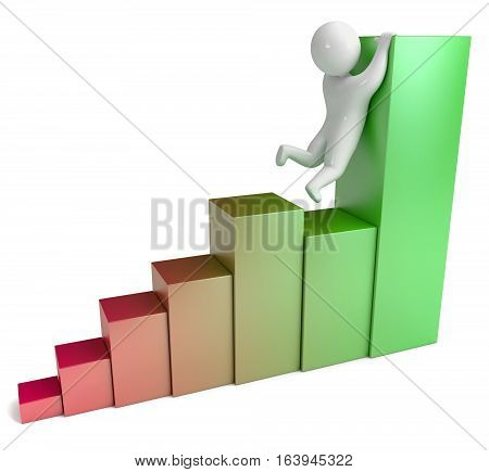 Bar graph with people 3d render. Isolated on white background