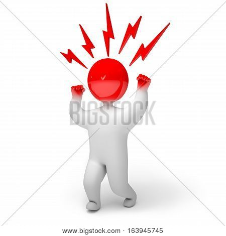 3d render crazy. Isolated on white background