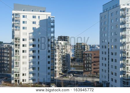 Modern residential area in Gothenburg in Sweden