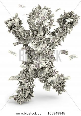 Money man. Moneybags. One hundred dollars. Isolated on white background