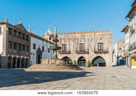 Famous Town Hall at the Praca da Republica in Viana do Castelo Portugal.