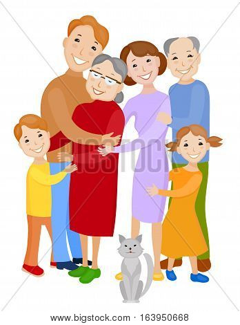 Fun cartoon family in colorful stylish clothes. Father mother children grandmother grandfather and cat all together one family