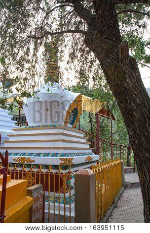 Big Buddhist stupa near the sacred lake Revalsar.  Rewalsar, district Mandi, Himachal Pradesh, district of Kangra, India.