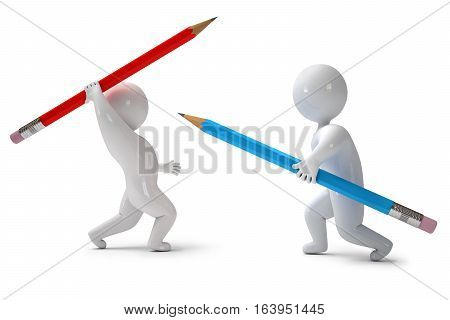 3d render pencil chivalry. Isolated on white background