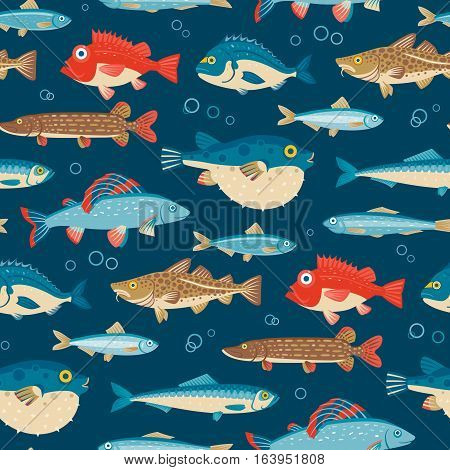 Colorful fish vector seamless pattern on blue background