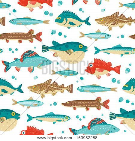 Colorful fish vector seamless pattern on white background