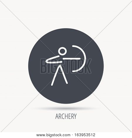 Archery sport icon. Archer with longbow sign. Aiming or targeting symbol. Round web button with flat icon. Vector