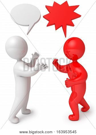 3d render people dialog debate. Isolated on white background
