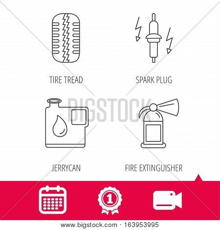 Achievement and video cam signs. Wheel, fire extinguisher and spark plug icons. Fuel jerrycan, tire tread linear signs. Calendar icon. Vector