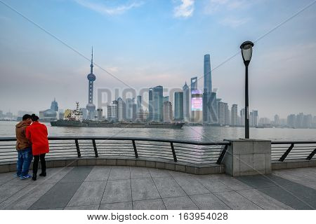 The Bund or Waitan is a waterfront area in central Shanghai China