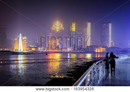 Beautiful  panoramic Skyline of Shanghai Pudong China asia
