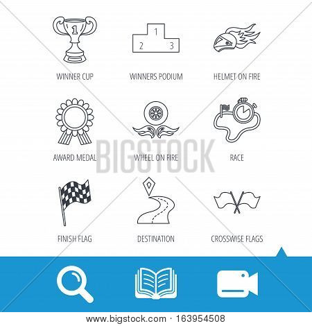 Winner cup and podium, award medal icons. Race flag, motorcycle helmet and timer linear signs. Destination pointer flat line icons. Video cam, book and magnifier search icons. Vector