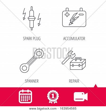 Achievement and video cam signs. Accumulator, spanner tool and car service icons. Repair toolbox, spark plug linear signs. Calendar icon. Vector