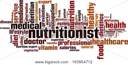 Nutritionist word cloud concept. Vector illustration on white