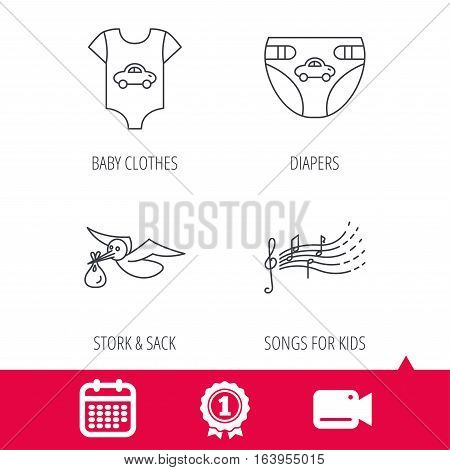 Achievement and video cam signs. Diapers, newborn clothes and songs for kids icons. Stork with sack linear sign. Calendar icon. Vector