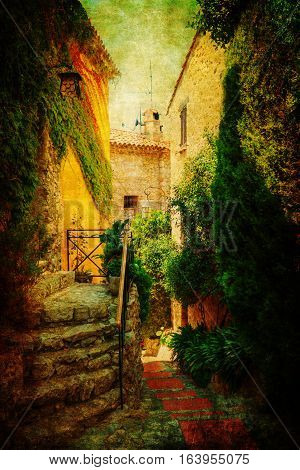 Vintage Style Picture Of Eze, France