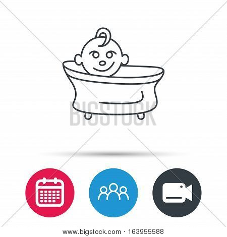Baby in bath icon. Toddler bathing sign. Newborn washing symbol. Group of people, video cam and calendar icons. Vector