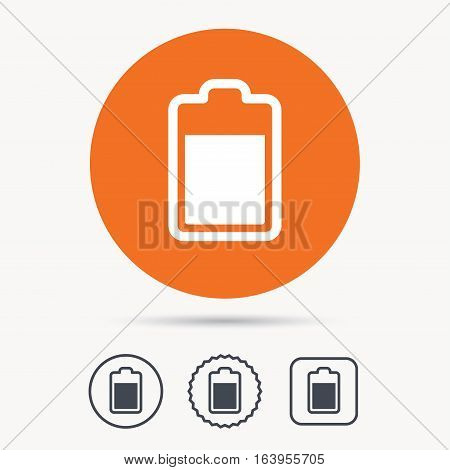 Battery power icon. Charging accumulator symbol. Orange circle button with web icon. Star and square design. Vector