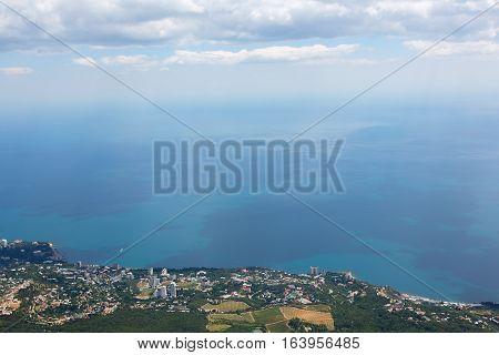 Aerial view of the coastline from Mount Ai-Petri mountain in Crimea