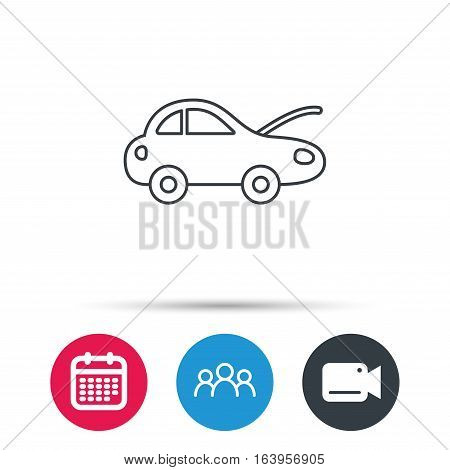 Car repair icon. Mechanic service sign. Group of people, video cam and calendar icons. Vector