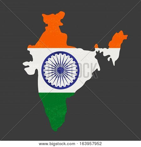 India republic celebration. National holiday parade poster element. Independence day concept. Indian tricolor map flag. Traditional blue Ashoka Chakra emblem. Vector patriotic event banner background