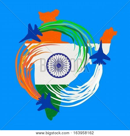 India republic celebration. National holiday air parade poster element. Independence day concept. Indian tricolor flag. Traditional blue Ashoka Chakra emblem. Vector patriotic event banner background