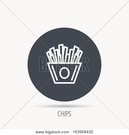Chips icon. Fries fast food sign. Fried potatoes symbol. Round web button with flat icon. Vector