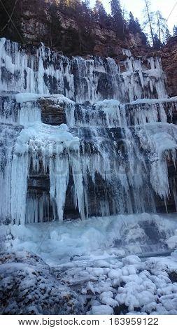 frozen Cascate Di Mezzo Di Vallesinella (waterfall Di Mezzo Di Vallesinella) III