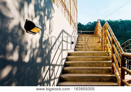 wooden Bamboo stair case architecture details shadow