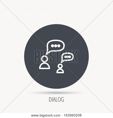 Dialog icon. Chat speech bubbles sign. Discussion messages symbol. Round web button with flat icon. Vector