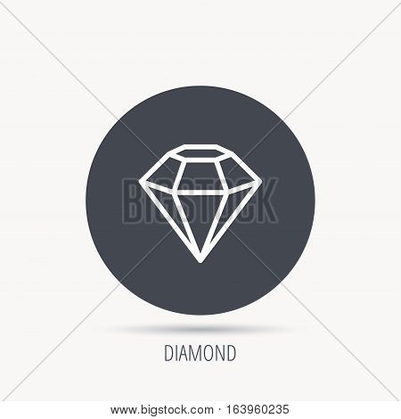 Diamond icon. Brilliant gemstone sign. Round web button with flat icon. Vector