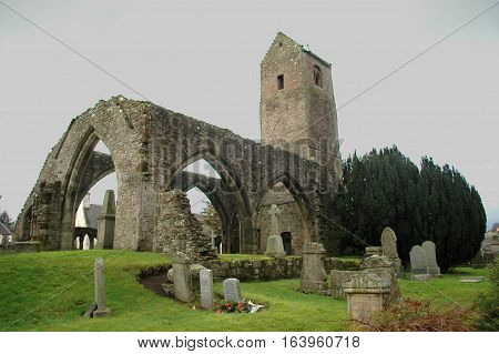 The ruin of an old church in Muthill, Scotland, with a bell tower dating to the 11th century.