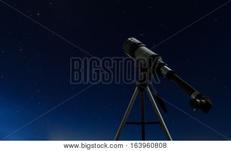 Simple telescope over nigh clear sky with stars