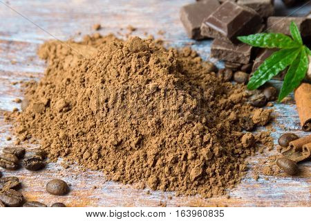 Cacao Powder With Chocolate And Cinnamon
