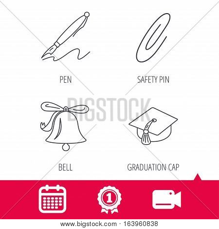 Achievement and video cam signs. Graduation cap, pen and bell icons. Safety pin linear signs. Calendar icon. Vector