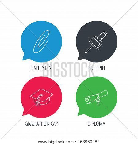 Colored speech bubbles. Graduation cap, pushpin and diploma icons. Safety pin linear sign. Flat web buttons with linear icons. Vector