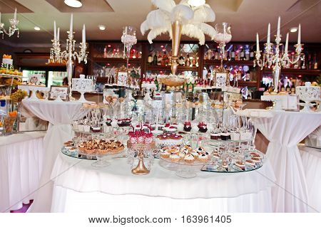Richest Wedding Reception Of Different Sweets, Fruits And Drinks.