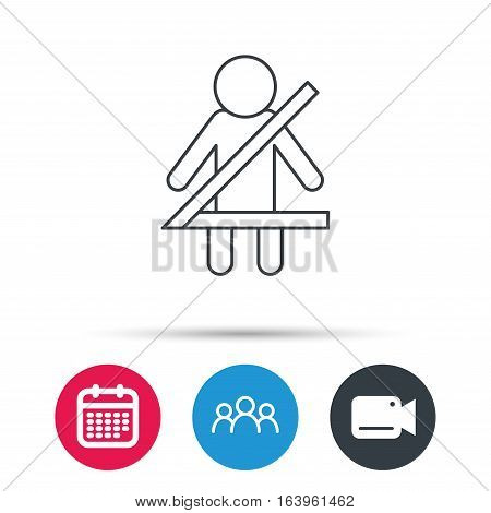 Fasten seat belt icon. Human silhouette sign. Group of people, video cam and calendar icons. Vector