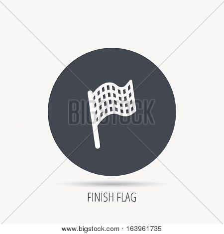 Finish flag icon. Start race sign. Round web button with flat icon. Vector