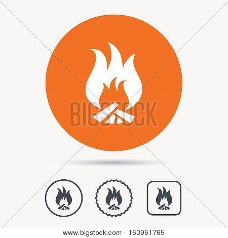 Fire icon. Blazing bonfire flame symbol. Orange circle button with web icon. Star and square design. Vector
