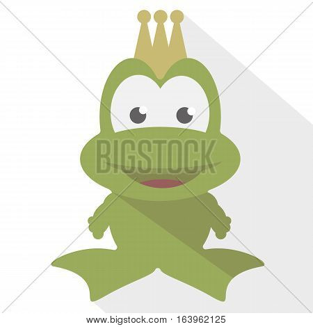 Green frog with a golden crown on a white background