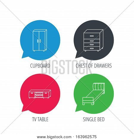 Colored speech bubbles. Single bed, TV table and cupboard icons. Chest of drawers linear sign. Flat web buttons with linear icons. Vector