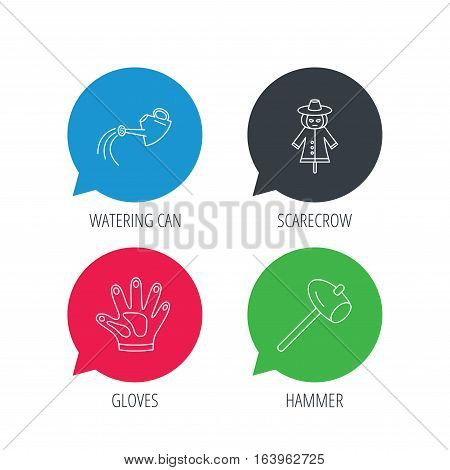 Colored speech bubbles. Hammer, scarecrow and watering can icons. Gloves linear sign. Flat web buttons with linear icons. Vector