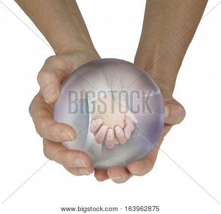 Predicting a soulmate in the future - female fortune teller with large crystal ball held in cupped hands with a vision of a couple holding hands within, on a white background