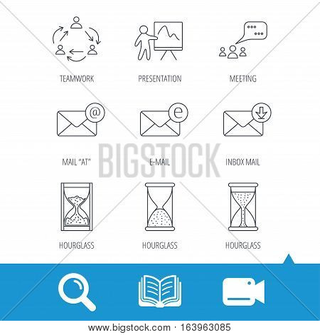 Teamwork, presentation and meeting chat bubbles icons. E-mail inbox, hourglass linear signs. Video cam, book and magnifier search icons. Vector