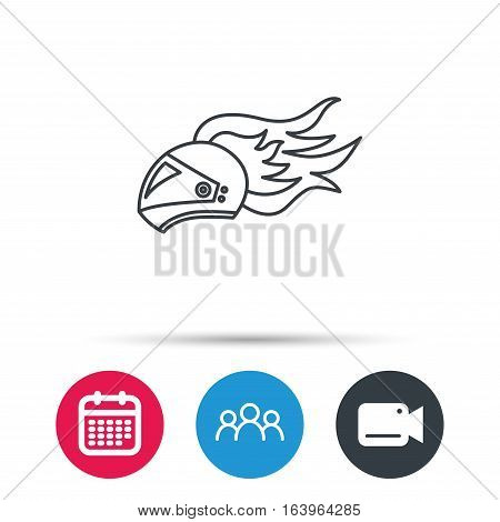 Helmet on fire icon. Motorcycle sport sign. Group of people, video cam and calendar icons. Vector